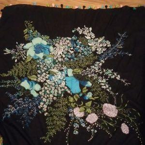 large square navy blue floral scarf fringe tassel